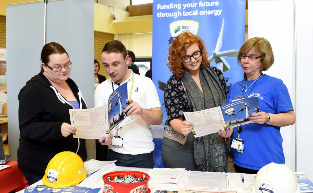 Jane Carlin and Megan Mullan, getting advice on job prospects at SSE Electricity, while visiting the last year's Tyrone Jobs and Careers Fair at the South West College, Omagh. This year's event takes place on Friday June 10.